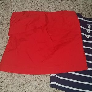 NWT j. crew red pintuck lined tube top